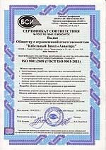 """Сертификат подтверждает, что система менеджмента КЗ """"Авангард"""" соответсвует международному стандарту"""